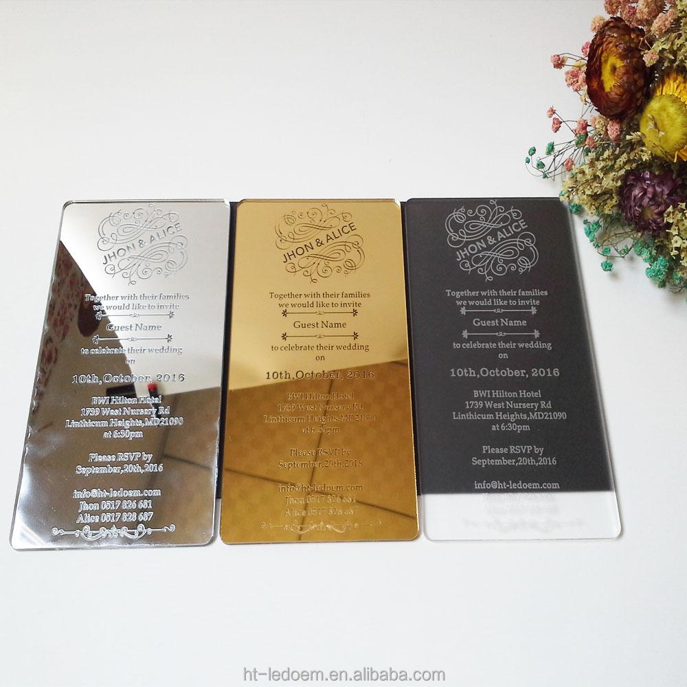 A buon mercato di piccola dimensione incisa al laser specchio d 39 oro acrilico carta dell 39 invito - Carta a specchio ...
