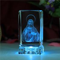 YX517 3D laser crystal engraving crafts Christian gift icon Jesus ornaments Christmas Eve gift