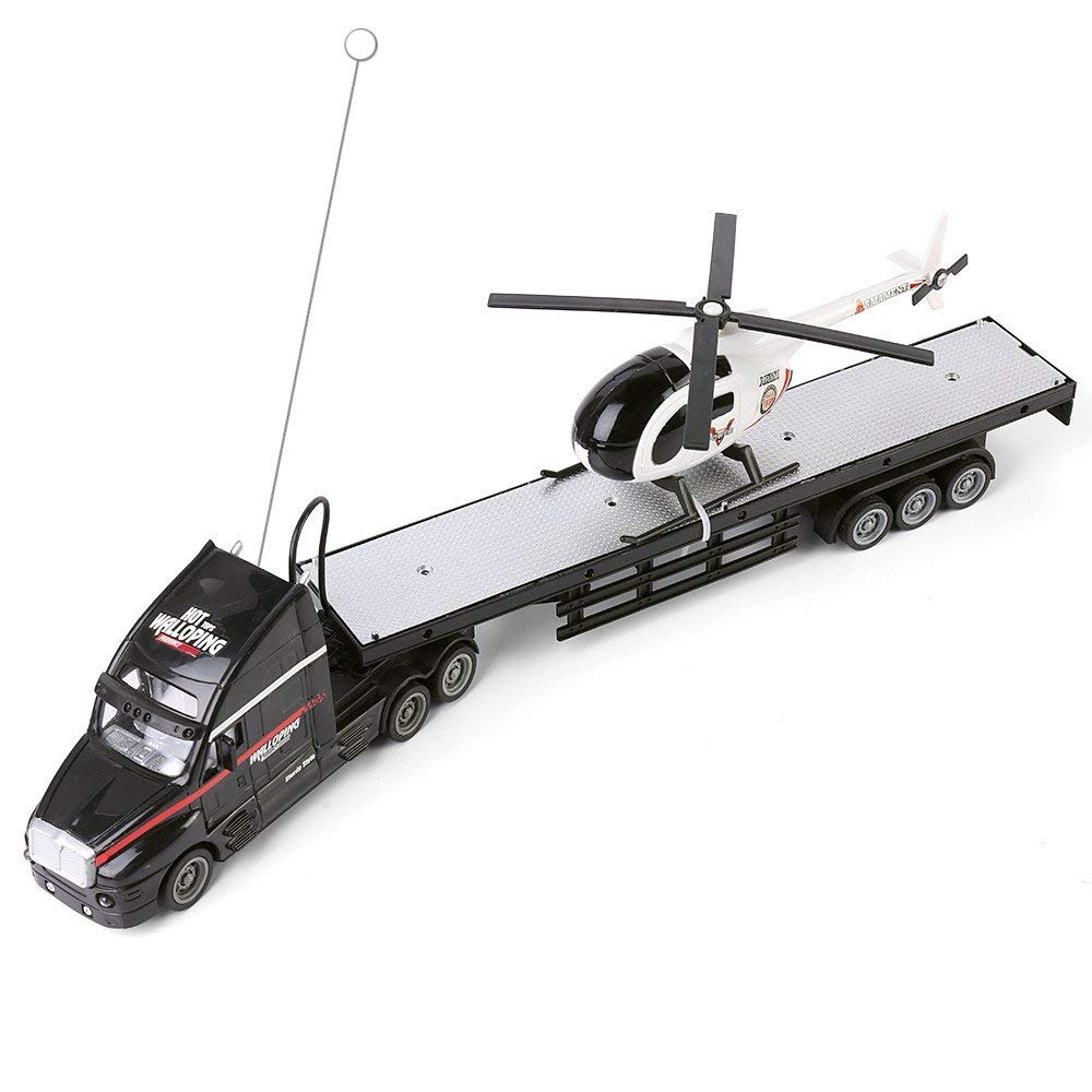 "Blue Block Factory Black Semi Truck Trailer 20"" Hauler Remote Control RC Transporter Truck Full Cargo Big Rig with Helicopter"