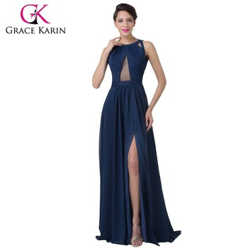 Grace Karin Navy Blue Chiffon Long Split Leg Backless Prom Dress ...