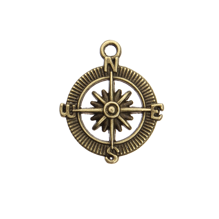 Custom metal Antique Bronze ships dharma wheel charms <strong>pendant</strong>