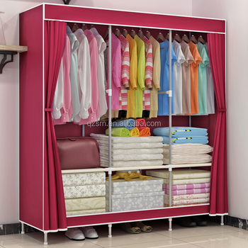 Portable Home Furniture Closet Storage Organizer Fabric Wardrobe Canvas  Wardrobe Storage