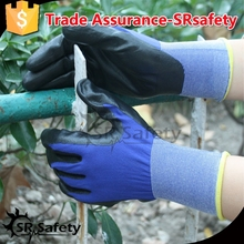 SRSAFTY 18 gauge knitted navy blue liner coated black nitrile with good quality on palm gloves, best selling in china