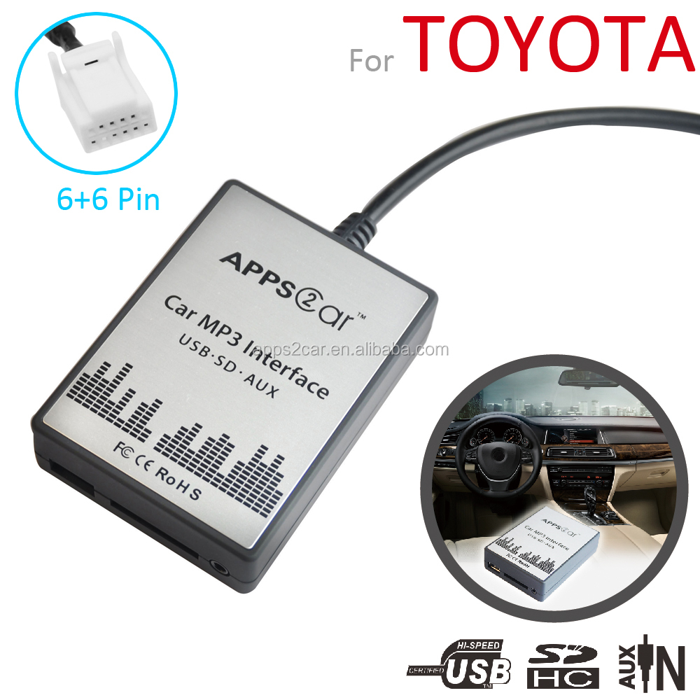 APPS2CAR USB Adapter For Car Radio Car CD Changer MP3 Adapter USB Interface for Toyota Yaris Corolla Cmary RAV4