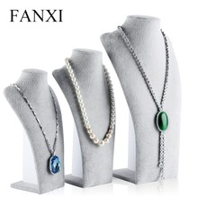 FANXI Fabriek Handgemaakte <span class=keywords><strong>Grijs</strong></span> Ice <span class=keywords><strong>Fluwelen</strong></span> Display Bustes Mannequin Showcase Ketting Display Bust