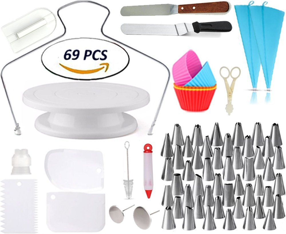 Cake Decorating Supplies - Rotating Turntable Stand | Professional Cupcake Decorating Kit | Baking Supplies |, Frosting & Piping Bags and Tips Set, Icing Spatula and Smoother, Pastry Tools | Cupcake