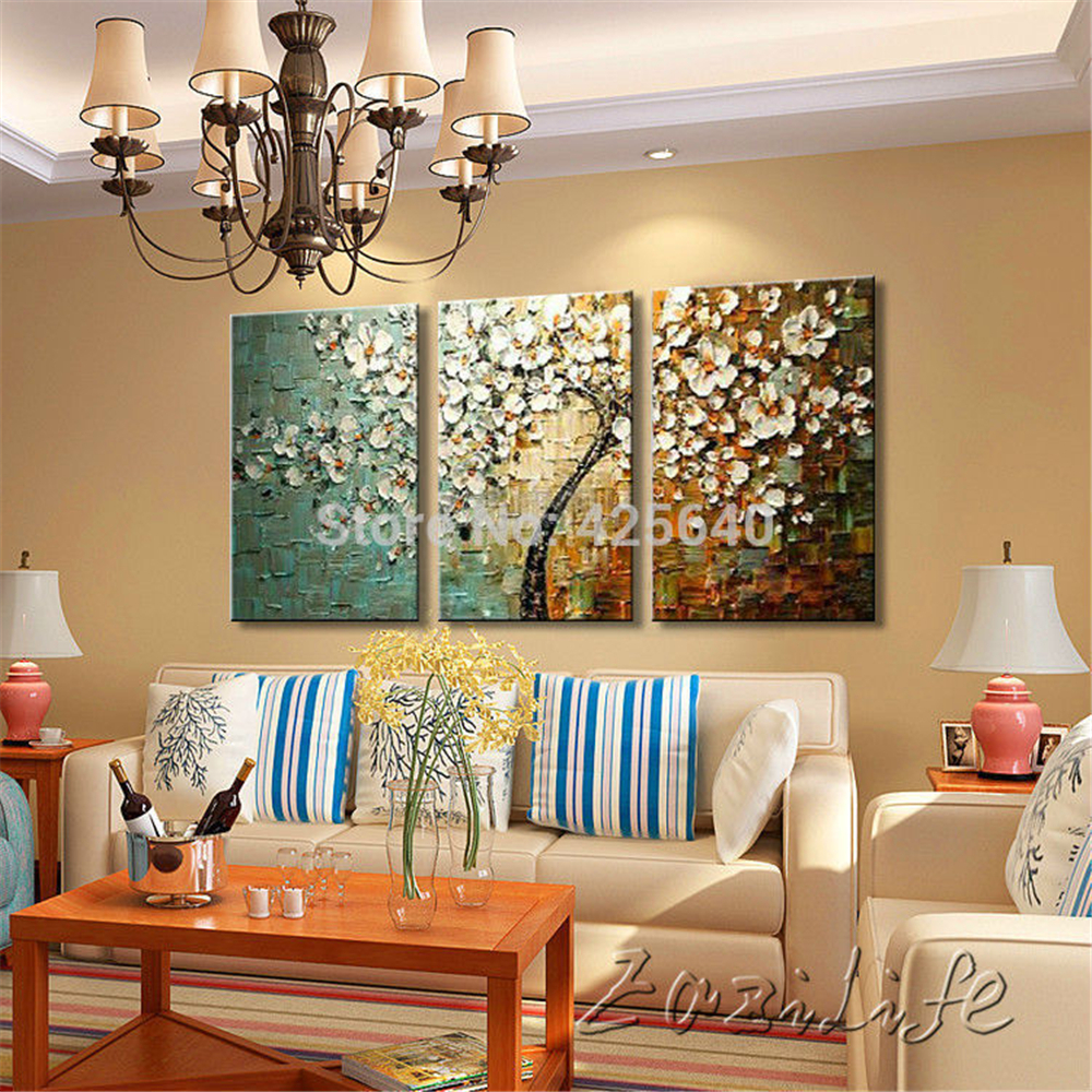 buy 3 piece hand painted palette knife flower tree oil painting wall art canvas. Black Bedroom Furniture Sets. Home Design Ideas