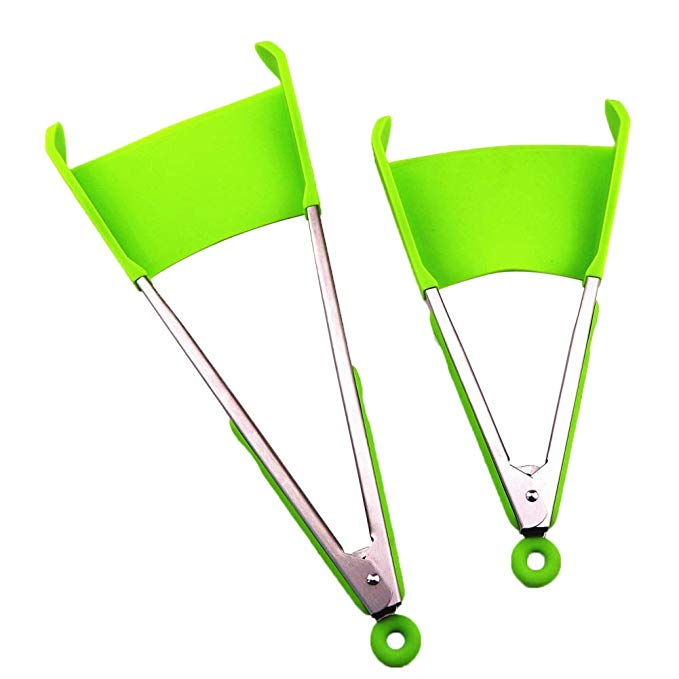 2 in 1 Spatula Tongs Smart Silicone Cooking Tongs 2 in 1 Kitchen Spatula and Tongs, Green;red