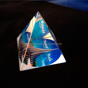 crystal glass pyramid shape paper weight with printing