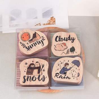 Fun&Joy Latest Design Custom Children Playing Wooden Small Rubber Stamp For Decorating The Wall