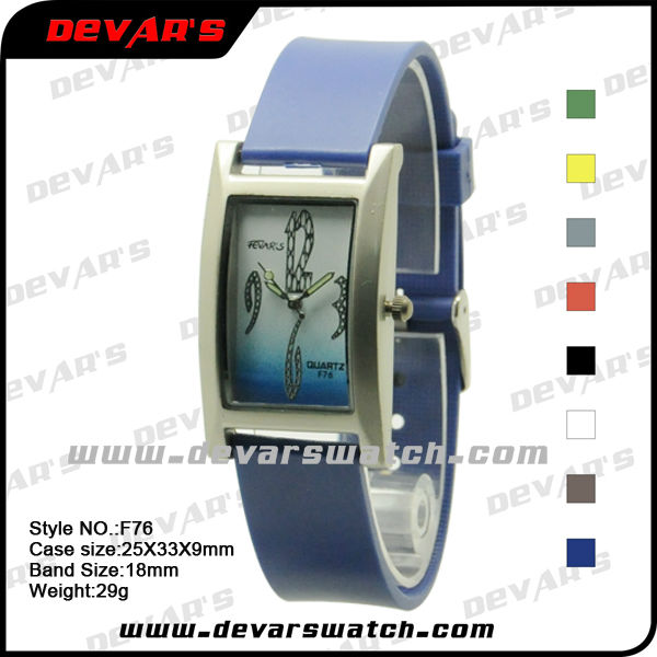 jelly square case wrist watches made in japan with double color on the dial