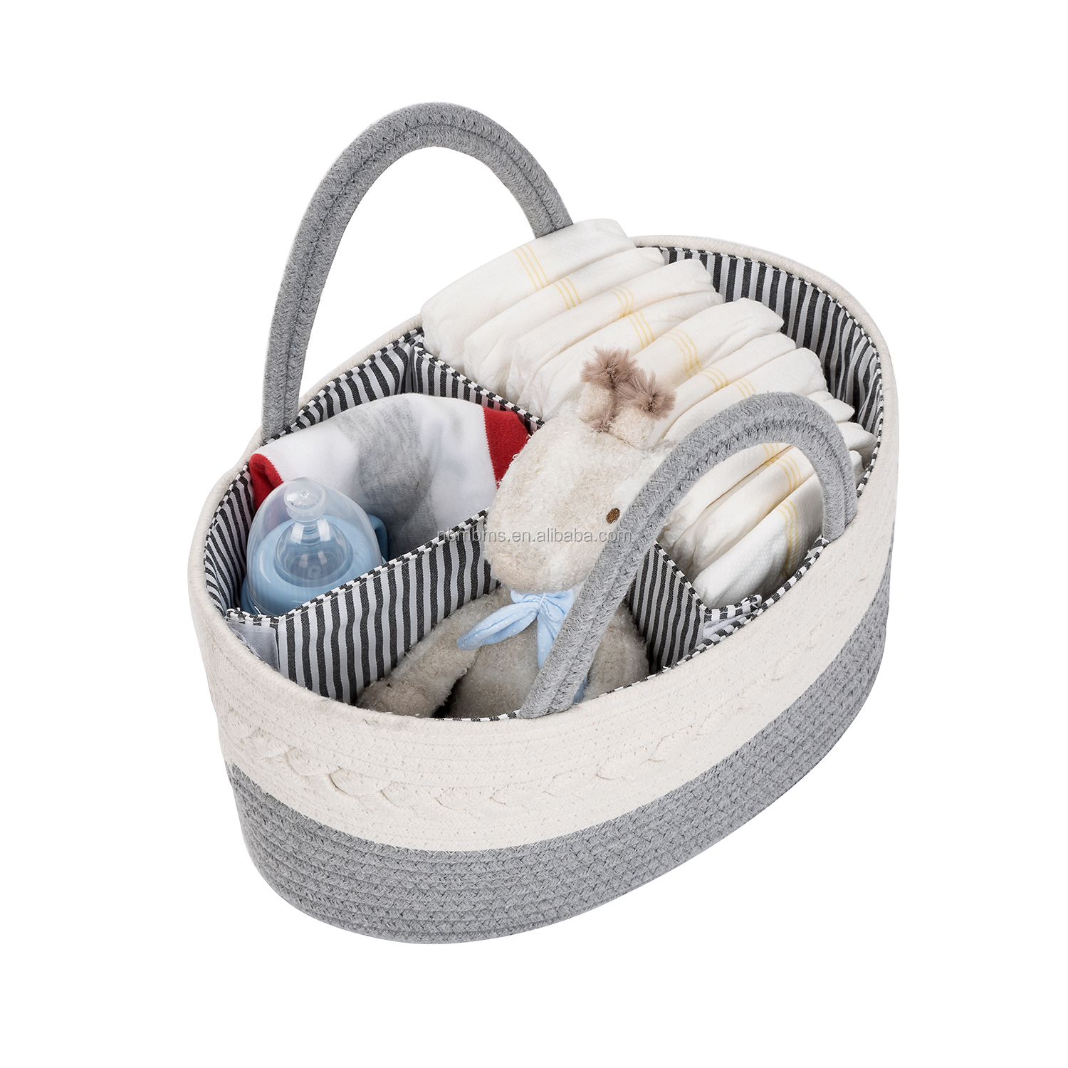 QJMAX Collapsible Nursery Storage Bin and Baby Diaper Caddy Bag Cotton Rope Diaper Caddy Organizer For Diapers and Baby Wipes