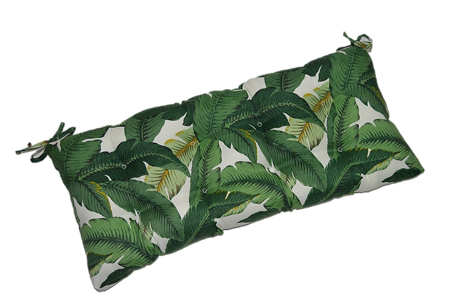 """Indoor / Outdoor Tufted Cushion for Bench, Swing, or Glider - Tommy Bahama Swaying Palms - Aloe - Green Tropical Palm Leaf - Choose / Select Size (60"""" X 18"""")"""