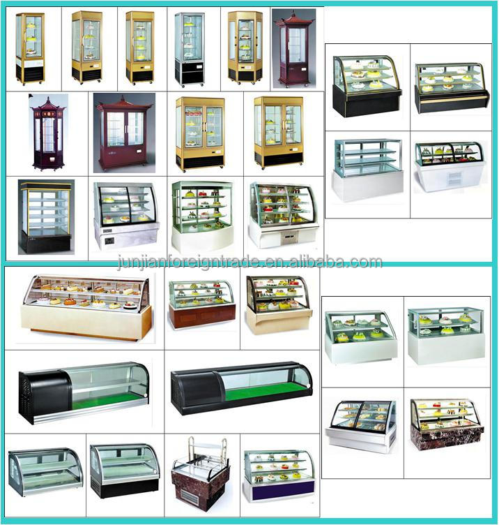 Bar Equipment Made In China Static Cooling 3 Door Glass Showcase Counter Top  Stainless