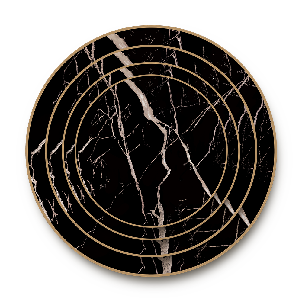 Wholesale elegent black marble gold dinnerware sets ceramic dinner wedding event <strong>plate</strong> for renting