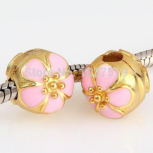 New Arrival -  100% 925 Sterling Silver Flower Bead Charm Pink Cherry Blossom Clip Stopper Bead Fit Bracelets & Bangles