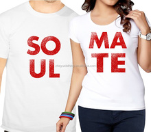 Suitable couple t-shirt screen printing 100 cotton unisex t shirt in bulk