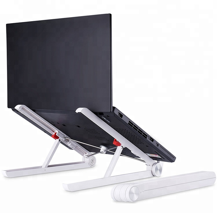 Migliore ergonomico 17 pollice grigio argento portatile pieghevole regolabile in alluminio del taccuino del computer portatile del basamento per scrivania