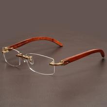 6e903d72916 Rimless Wooden Gold Glasses Frame Men Light Weight Optical Rim Eyeglasses  frames brand designer Prescription Myopia