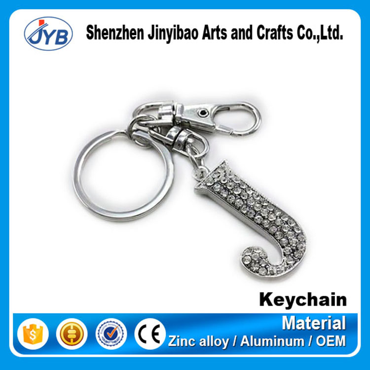 custom shape metal diamond letter J keychain supplier