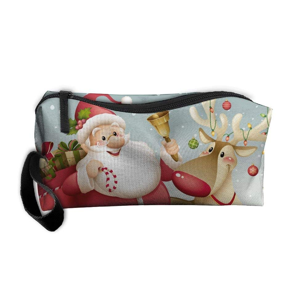 0306dd70b37 Get Quotations · Santa Claus And Reindeer Portable Travel Home Lingerie Bra  Cosmetic Make-up Storage Bag Handbag