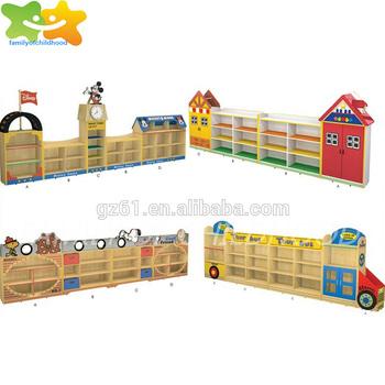 Cartoon Design Preschool Wood Cabinet Furniture Kids Toys Cupboard