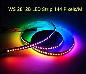 3.2ft WS2812B WS2812 144Pixels DC5V Individually Addressable SMD 5050 RGB Dream Color Digital LED Strip Black/White PCB IP20/IP65/IP67 Waterproof (IP67, White PCB)