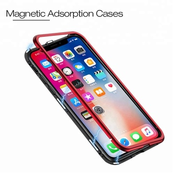 Mobile Accessories Phone case Metal 360 Bumper Cover Glass Magnetic adsorption Aluminum Magnet Phone Case for IPhone 8 7 6 x