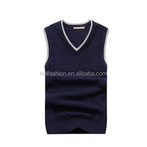 British style middle-aged v neck pullover men's sleeveless sweater