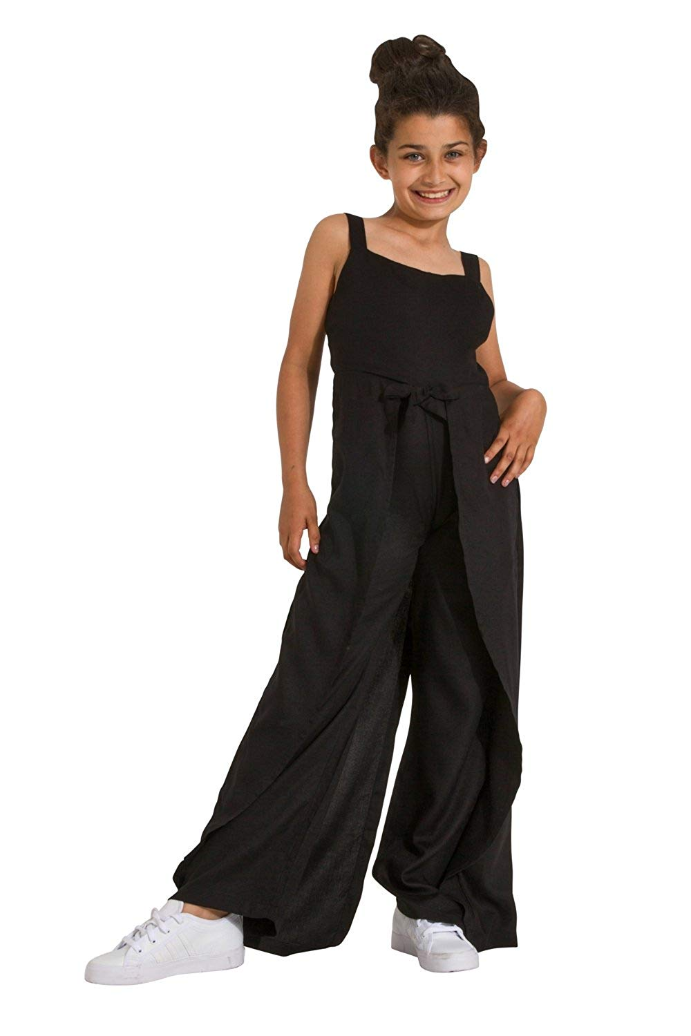 44135fdbf244 Get Quotations · Wash Clothing Company Wide Leg Jumpsuit for Girls - Black  Sleeveless Culotte Dress Age 3-