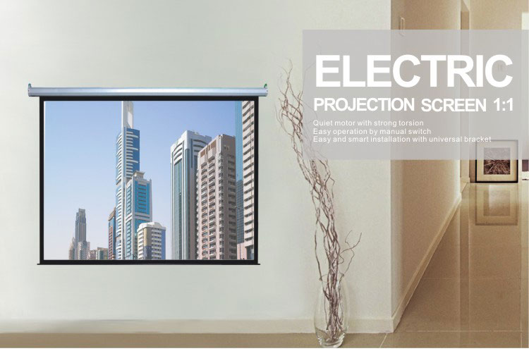 Comix 200*200 cm 1:1 Format Matt White Surface Electric Projection Screen for Meeting