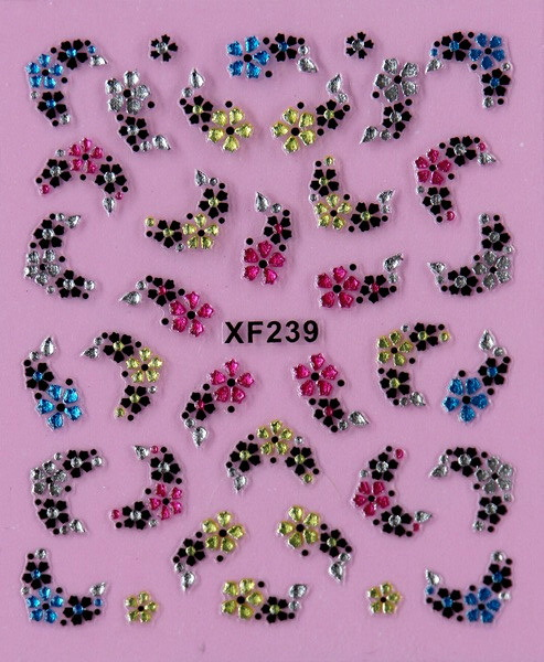 black 3D flower design Water Transfer Nails Art Sticker decals lady women manicure tools Nail Wraps