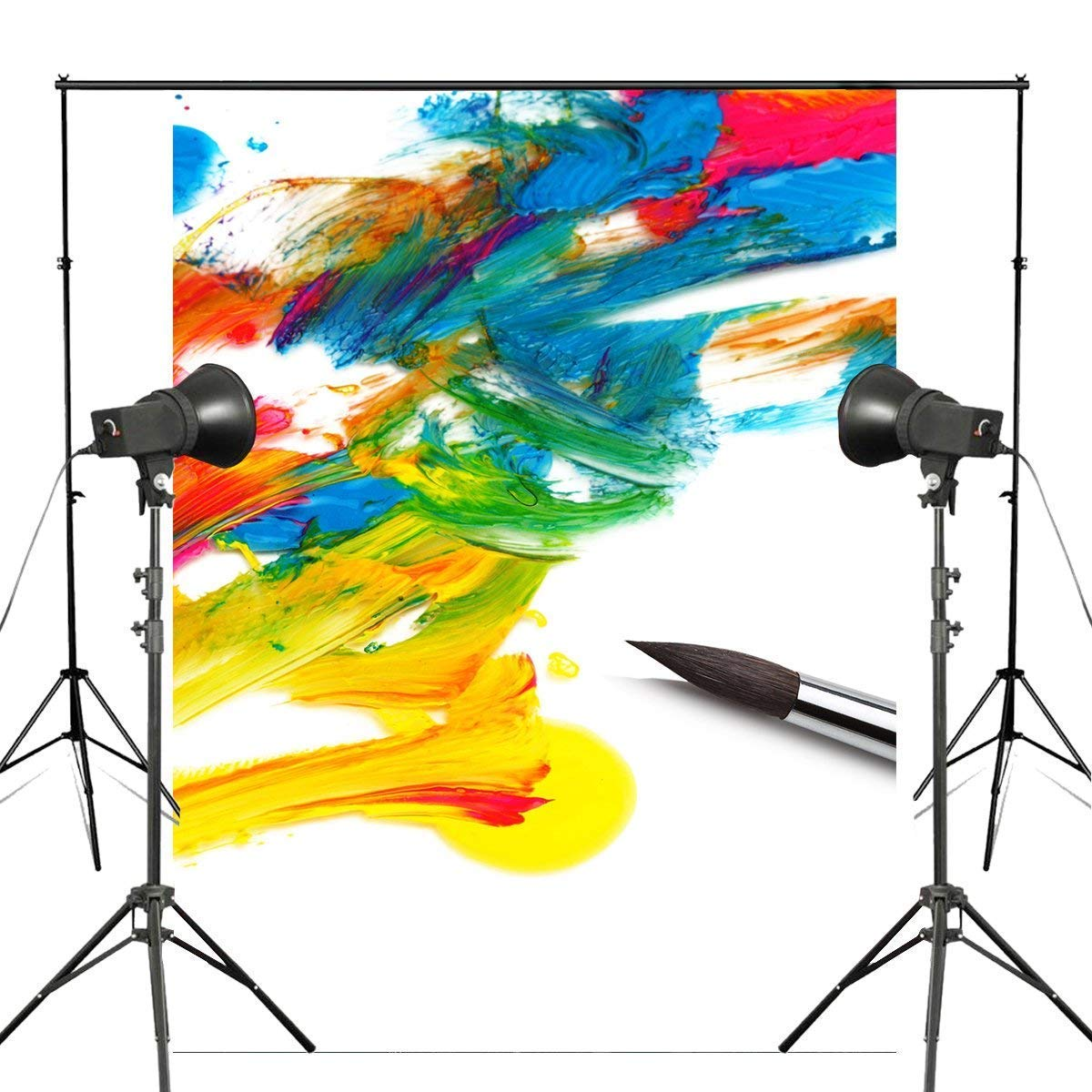 ERTIANANG 5x7ft Colorful Ink Painting Photography Backdrop Brush Background Art Photo Studio Backdrop