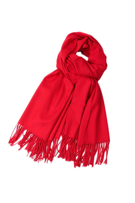 Women Elegant Winter Warm Cashmere Blend Solid Scarf Shawl Long Scarves