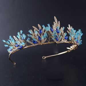 Korean handmade gold color crystal big crown bride headdress wedding hair ornaments