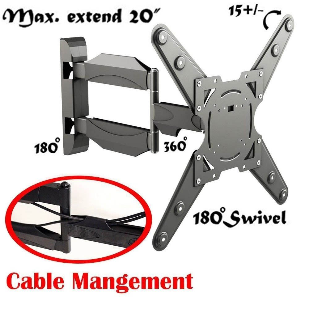 """2xhome - Full Motion Articulating Swivel Swival & Tilt Arm - Cable Management - LCD LED 3D Plasma TV TVs Television Monitor Moniter Screen Wall Mount Bracket for 26"""" - 55"""" - Load Capacity 88lbs - 26 27 28 29 30 31 32 33 34 35 36 37 38 39 40 41 42 43 44 45 46 47 48 49 50 51 52 53 54 55 inch inches"""