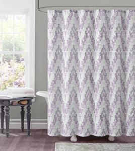 Get Quotations Dobby Fabric Shower Curtain Chevron Tile Design 72 X Purple