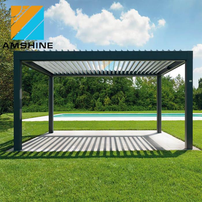 custom rainproof electric aluminum pergola roof, View aluminum pergola  roof, AMSHINE Product Details from Suzhou Amshine Building Material Co ,  Ltd