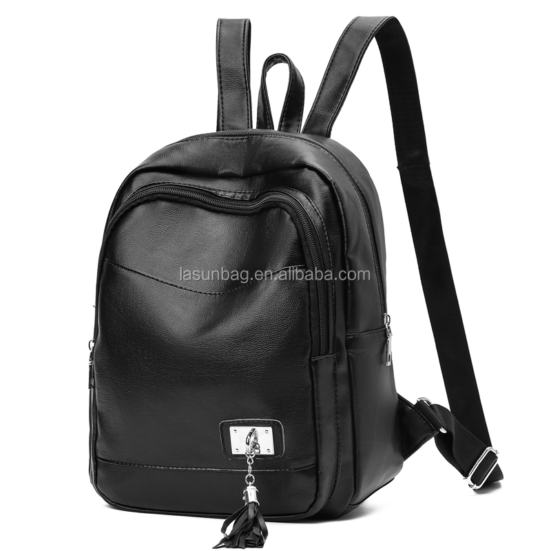 Cheap Small Tassel Cute Girls Black Leather Preppy Funny <strong>School</strong> Traveling Backpacks