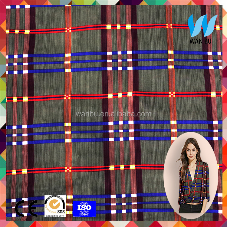 Technical elastic polyester fabric plaid shirt fabric online uk
