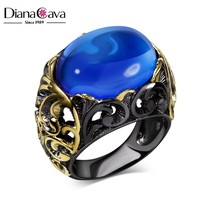 Attractive Party Jewelry Sapphire Blue Glass Stone Black Plated Filigree Pattern Gold Ring