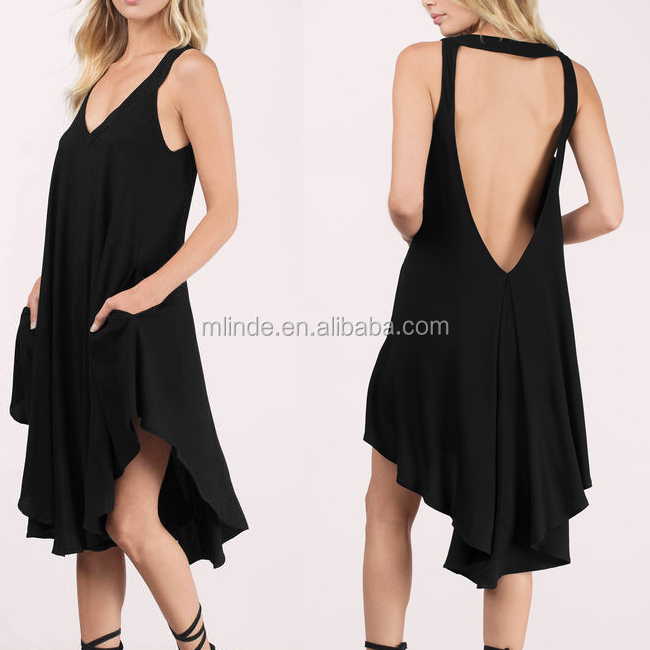 Mature Women Clothing Sexy Black Backless V Neckline Fancy Indian One Piece Dress China Manufacturers