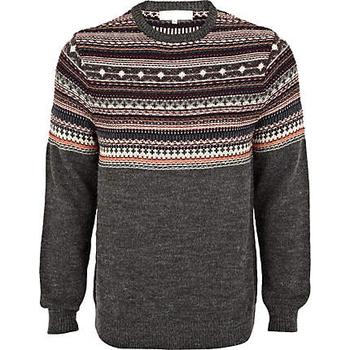 82adc134079a Men s Grey Fair Isle Yoke Sweater - Buy Mens Military Sweater