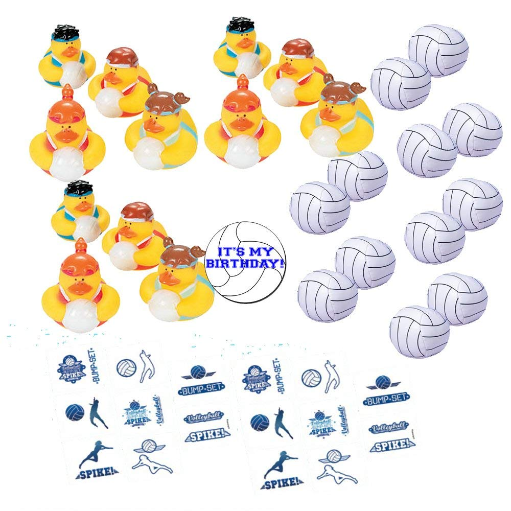 Volleyball Party Favors for 12 - Volleyball Rubber Ducks (12), Small Volleyball Soft Balls (12), Volleyball Tattoos (16) and a Happy Birthday Sticker