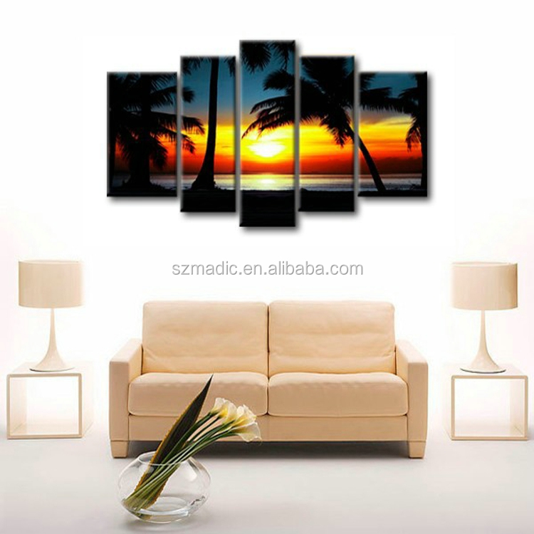 Handmade Beautiful Scenery Oil Painting on Canvas 5 Panel Palm Trees in Sunset Seascape Painting