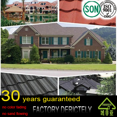 factory real colorful stone coated metal roofing tile / color stone metal step tile roof / color stone chip coated metal