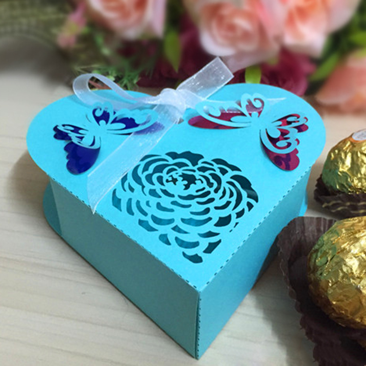 Colourful Sweetheart Laser cut Paper Weddding Favor Candy Box