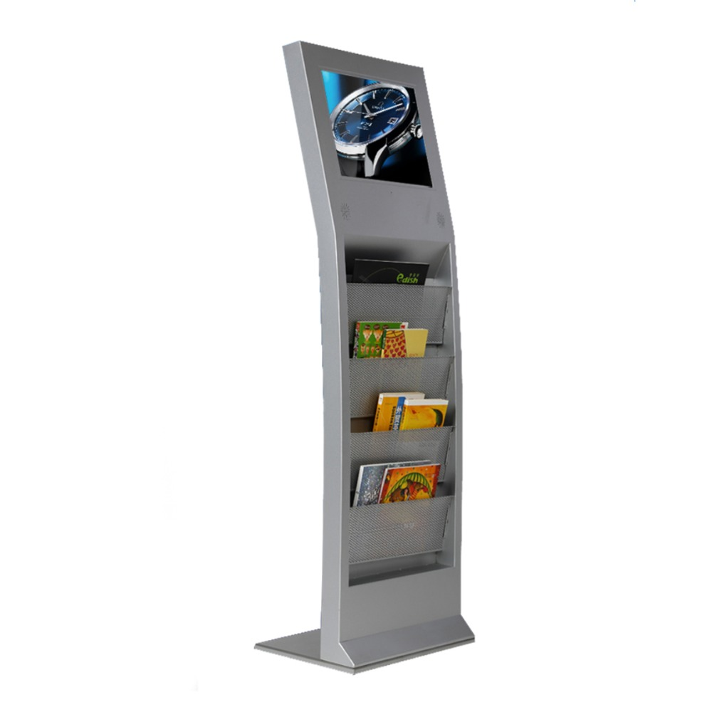 "17"" Vertical PC Digital Signage Display With Newspaper Shelf"
