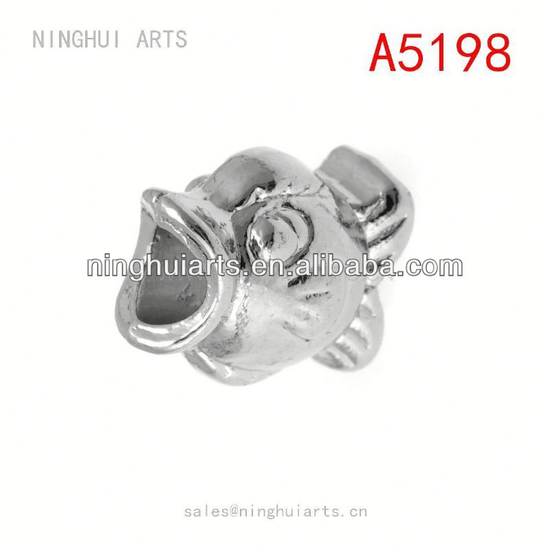 fish shaped round alloy bracelet beads