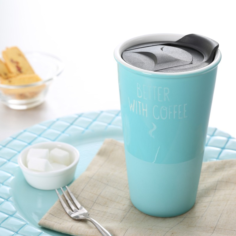 2017 eco friendly coffee thermal travel mug with lids